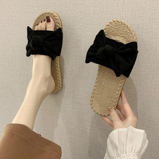 Velvet Bow Accent Slippers