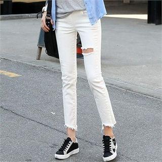 Cutout Straight-cut Leggings Pants