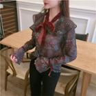 Patterned Bow Accent Chiffon Blouse