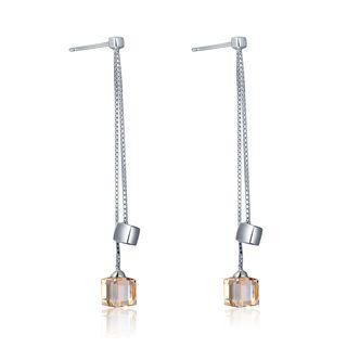 925 Sterling Silver Cz Cube Earrings