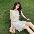 Lace Ruffle Strap Dress As Shown In Figure - One Size