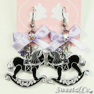 Purple Ribbon Silver Rocking Horse Earrings