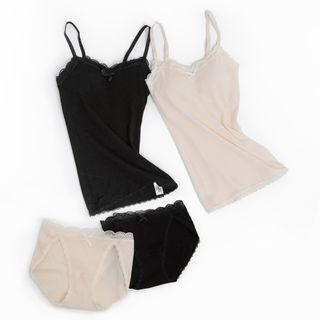 Set: Lace Trim Padded Camisole + Panties