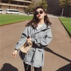 Hooded Buttoned Trench Jacket