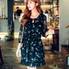 3/4-sleeve Floral Chiffon Mini Dress