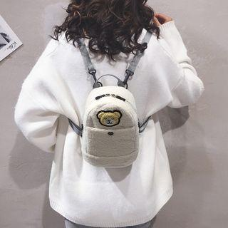 Faux Shearling Bear Mini Backpack