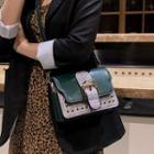 Plaid Buckled Faux Leather Crossbody Bag
