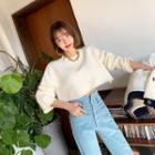 Cropped Wool Blend Knit Top