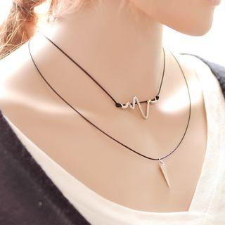 Heartbeat Layered Necklace As Shown In Figure - One Size
