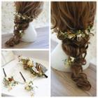Bridal Set: Flower Hair Comb + Hair Sticks