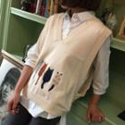 Cat Embroidered Knit Vest