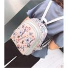 Flower Printed Faux Leather Backpack