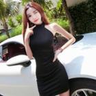 Plain Open Back Sleeveless Mini Dress