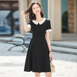 Two-tone Collared Short-sleeve A-line Mini Dress