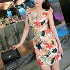 Frilled Floral Sleeveless Sheath Dress