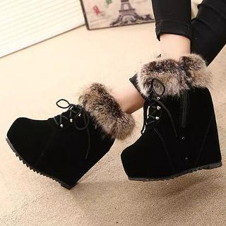 Furry Trim Wedge  Short Boots