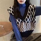 Mock Neck Long-sleeve Top / Patterned Knit Vest