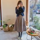 Floral Corduroy Long Flare Skirt