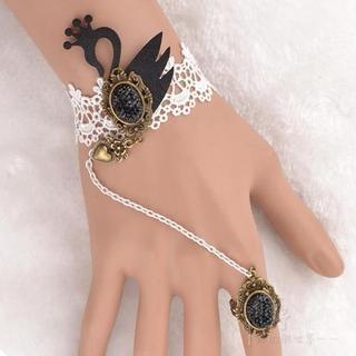 Black Swan Crochet Ring Bracelet