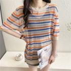 Striped Elbow-sleeve Pointelle Knit Top