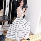 Sleeveless Striped Maxi Chiffon Dress