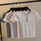 Short-sleeve Buttoned Striped Knit Top