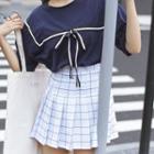Window Pane Pleated Skirt