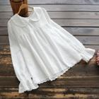 Bell-sleeve Embroidered Top White - One Size