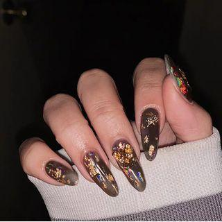 Gold Leaf Pointed Faux Nail Tip 669 - Glue - As Shown In Figure - One Size