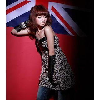 Sleeveless Leopard-printed Top Coffee - One Size