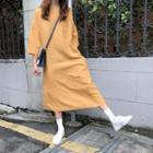 Crew-neck 3/4-sleeve Midi Dress