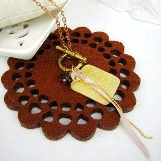 Gold English Book Long Necklace Gold - One Size