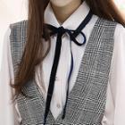 Velvet-ribbon Contrast-trim Shirt