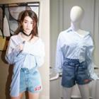 Striped Panel Blouse / Denim Shorts