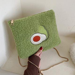 Faux Shearling Avocado Print Crossbody Bag