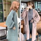 Long Open-front Furry Cardigan