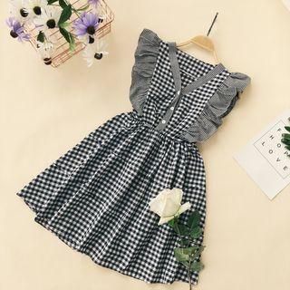 Frill Trim Plaid Sleeveless Dress