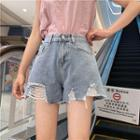 Plain High-waist Loose-fit Washed Ripped Denim Shorts