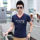 Print V-neck Short-sleeve T-shirt