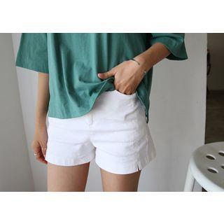Flat-front Slit-hem Shorts