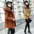 Furry Trim Hooded Corduroy Coat