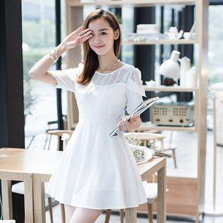 Short-sleeve Striped Embroidered Dress