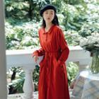 Pocketed Long-sleeve Shirtdress