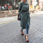 Tie-cuff Long Trench Coat With Sash
