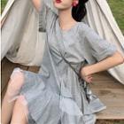 Short-sleeve Mini Mesh Panel Dress