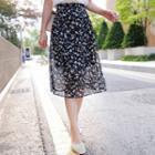 Floral H-line Chiffon Skirt
