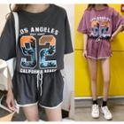 Set: Printed Elbow Sleeve T-shirt + Contrast Trim Shorts