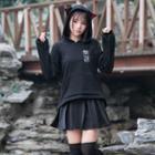 Cat Ear Hoodie / Pleated Mini Skirt