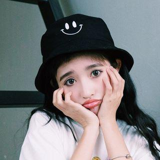 Smiley Face Embroidered Bucket Hat