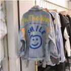 Smiley Face Denim Jacket Blue - One Size